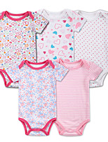 Baby Casual/Daily Sports Holiday Solid Striped Print One-Pieces,Cotton Summer Fall Short Sleeve