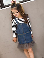 Girls' Casual/Daily Solid Sets,Cotton Spring Fall Long Sleeve Clothing Set