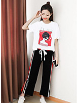 Women's Casual/Daily Simple Summer T-shirt Pant Suits,Solid Geometric Round Neck Short Sleeve Patchwork Cotton Linen Micro-elastic