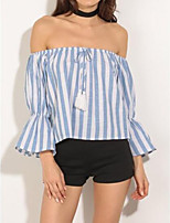 Women's Going out Casual/Daily Beach Sexy Cute T-shirt,Striped Off Shoulder Long Sleeve Cotton