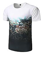 Tee-shirt Homme,Imprimé Décontracté / Quotidien simple Manches Courtes Col Arrondi Coton