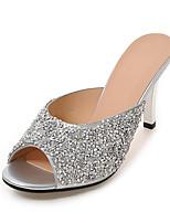 Damen-Slippers & Flip-Flops-Kleid Lässig-Kunststoff-Stöckelabsatz-Fersenriemen-Weiß Silber