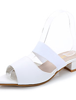 Women's Heels Spring Summer Fall Comfort Microfibre Dress Chunky Heel Block Heel White Black Peach