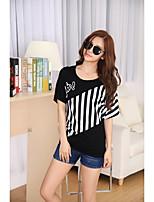 Mujer Simple Casual/Diario Camiseta,Escote Redondo A Rayas Manga Corta Algodón Fino