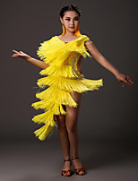 Latin Dance Dresses Kid's Performance Spandex Beading Crystals/Rhinestones Tassel(s) 1 Piece Sleeveless Natural Dress