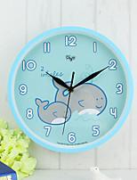 Moderne/Contemporain Famille Horloge murale,Rond Plastique 25.4 Intérieur Horloge