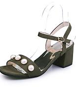 Femme-Extérieure Habillé Décontracté-Noir Jaune Vert-Gros Talon Block Heel-Salomé-Sandales-Laine synthétique
