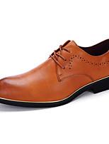 Черный Серый Желтый-Для мужчин-Свадьба Повседневный Для вечеринки / ужина-Кожа-На плоской подошве-Удобная обувь-Туфли на шнуровке