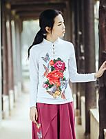Tee-shirt Femme,Fleur Décontracté / Quotidien Chinoiserie Printemps Manches Longues Col Arrondi Coton Moyen