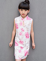Girl's Going out Casual/Daily Floral Dress,Cotton Summer Sleeveless
