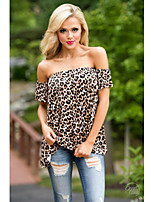 les nouveaux modèles d'explosion ebay col léopard aliexpress manches courtes T-shirt des femmes de mode européen et américain&# 39;
