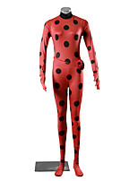 Inspired by Naruto Abel Nightroad Anime Cosplay Costumes Cosplay Suits Polka Dot Red Long Sleeve Leotard Gloves For