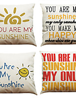 Set of 4  Quotes & Sayings Pattern  Linen Pillowcase Sofa Home Decor Cushion Cover