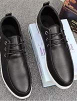 Черный Синий-Для мужчин-Повседневный-Полиуретан-На плоской подошве-Удобная обувь-Туфли на шнуровке