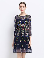 Women's Going out Sexy Sophisticated A Line Dress,Embroidered Round Neck Above Knee ¾ Sleeve Polyester Spandex Spring Mid Rise Inelastic