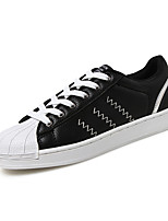 Men's Sneakers Spring Summer Fall Comfort Leather Outdoor Casual Flat Heel Lace-up Black White