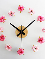 Modern/Contemporary Casual Floral/Botanicals Wall Clock,Novelty Metal Wood Polyester 10*10 Indoor/Outdoor Indoor Clock