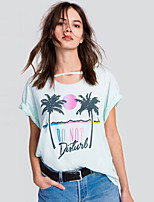 Women's Going out Casual/Daily Simple Cute Summer Fall T-shirt,Floral Round Neck Short Sleeve Cotton Opaque