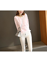 Women's Going out Regular Pullover,Striped Round Neck Long Sleeve Cotton Fall Winter Medium Micro-elastic