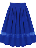 Women's High Rise Going out Casual/Daily Knee-length Skirts,Sexy Simple Swing Tulle Patchwork Solid Spring Summer