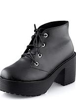 -Для женщин-Повседневный-Полиуретан-На толстом каблуке Блочная пятка-Удобная обувь-Ботинки