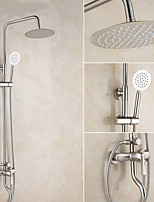 Contemporary Modern Shower Only Rotatable with  Ceramic Valve Single Handle Two Holes for  Nickel Brushed , Shower Faucet