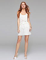 Sheath / Column Wedding Dress - Reception Little White Dress See-Through Short / Mini Scoop Lace with Draped Lace