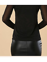 Women's Casual/Daily Simple Spring Fall T-shirt,Solid Round Neck Long Sleeve Polyester Sheer