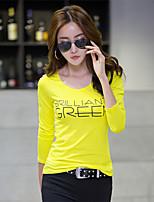 Damen Buchstabe Einfach Lässig/Alltäglich T-shirt,Rundhalsausschnitt Langarm Baumwolle