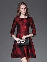 Damen Skater Kleid-Lässig/Alltäglich Anspruchsvoll Stickerei Rundhalsausschnitt Mini ¾-Arm Rot Baumwolle Frühling / HerbstMittlere