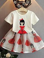 Girls' Casual/Daily Print Sets,Rayon Polyester Summer Short Sleeve Clothing Set