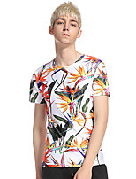 Men's Casual/Daily Club Street chic T-shirt,Geometric Round Neck Short Sleeve Polyester