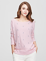 Women's Going out Casual/Daily Simple Regular Cardigan,Solid Print Round Neck Long Sleeve Cotton Spring Medium Micro-elastic