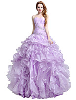 Formal Evening Dress Ball Gown Sweetheart Floor-length Organza with Beading Side Draping