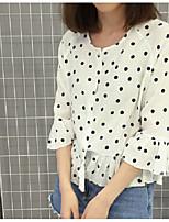 1688 # корейской версии новой весной диких маленькой точкой печати рыхлый шифона рубашку рукав рубашки Вава шань покрытие