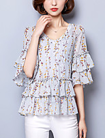 Women's Going out Casual/Daily Formal Simple Cute Summer Blouse,Floral V Neck ½ Length Sleeve Polyester Thin