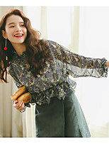 Women's Casual/Daily Simple Cute Blouse,Floral Stand Long Sleeve Others