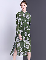 Women's Going out Casual/Daily Holiday Simple Cute Shirt Dress,Floral Shirt Collar Midi Long Sleeve Others Spring Summer Mid Rise
