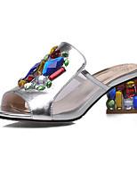 Women's Slippers & Flip-Flops Summer Fall Slingback PU Dress Casual Chunky Heel Rhinestone