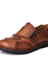 Men's Flats Spring Summer Fall Comfort Cowhide Office & Career Party & Evening Casual Flat Heel Brown Khaki Walking