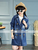 Girls' Casual/Daily Party/Cocktail Holiday Solid Embroidered Trench Coat,Cotton Fall Long Sleeve