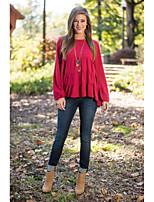 camisa vermelha aliexpress 2016 Primavera novas mulheres de manga lanterna camisa solta chiffon de manga comprida