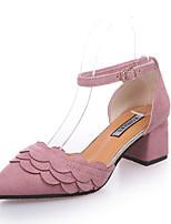 Damen-Sandalen-Outddor Kleid Lässig-Vlies-Blockabsatz Block Ferse-T-Riemen-Schwarz Armeegrün Rosa