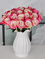 1 Branch Plastic Roses Tabletop Flower Artificial Flowers 30*30*40