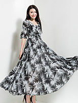 BORME Women's Going out Casual/Daily Holiday Vintage Boho Chiffon Swing DressPrint V Neck Maxi  Length Sleeve Polyester Spring SummerHigh