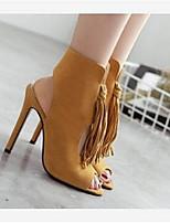 Damen-High Heels-Lässig-Wildleder-Stöckelabsatz-Komfort-Schwarz Braun