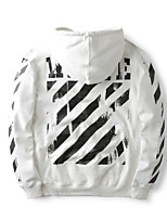 Men's Casual/Daily Simple Hoodie Print Striped Round Neck Inelastic Cotton Long Sleeve Fall Winter