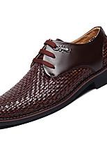 Белый Черный Коричневый-Для мужчин-Повседневный-Кожа-На плоской подошве-Формальная обувь-Мокасины и Свитер