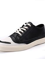Черный Красный-Для мужчин-Для прогулок Повседневный Для занятий спортом-Кожа-На плоской подошве-Удобная обувь-Кеды