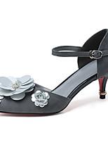 Черный Светло-серый-Для женщин-Для офиса Для праздника Для вечеринки / ужина-Замша-На шпильке-клуб Обувь-Сандалии